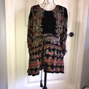 Free people tassel belted mini dress size M gypsy